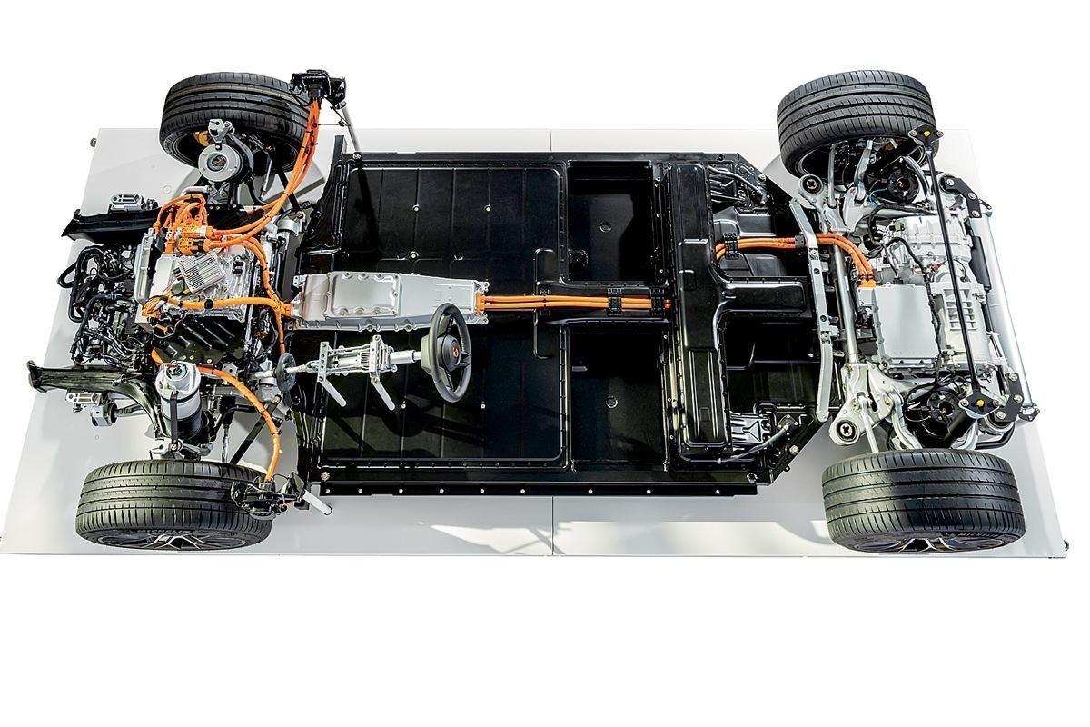 Foto plataforma J1 del Porsche Taycan - tecnología