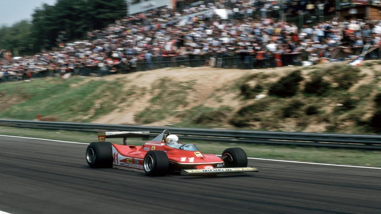 Jody Scheckter pilotando el Ferrari 312T4 en el GP de Bélgica de Fórmula 1 de 1979