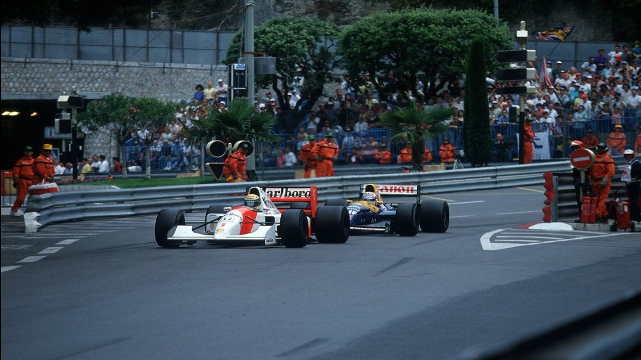 Ayrton SEnna y Nigel Mansell en el GP de Mónaco de F1 de 1992