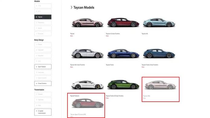 Filtración Porsche Taycan GTS y Taycan Sport Turismo GTS