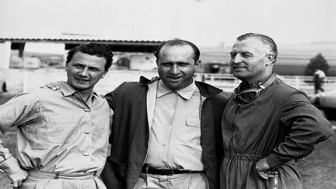 Hans Herrmann, Juan Manuel Fangio y Karl Kling en 1954
