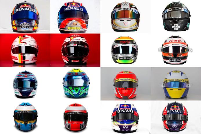 Cascos de los pilotos de Fórmula 1 para la temporada 2015