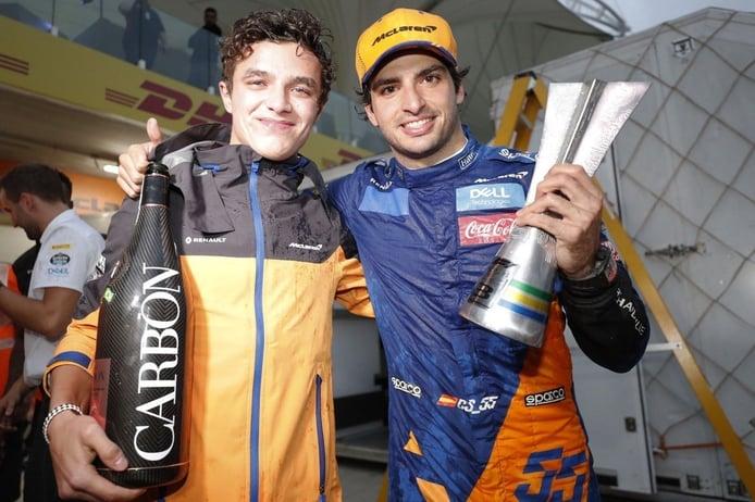 """Sainz, agradecido con Norris por su celebración del podio: """"Fue un caballero"""""""