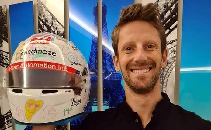 El casco de despedida que sus hijos diseñaron y que Grosjean no podrá usar
