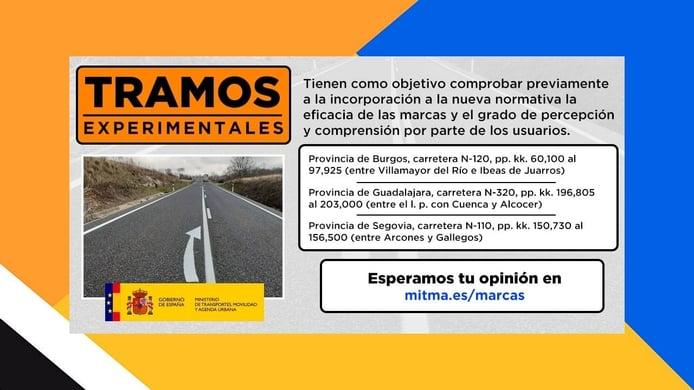 Nuevas marcas viales experimentales en tres tramos de carretera