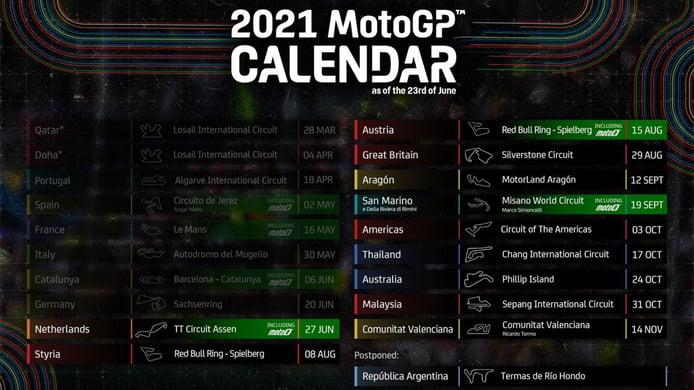 MotoGP actualiza su calendario de 2021 para dar cabida a Austin