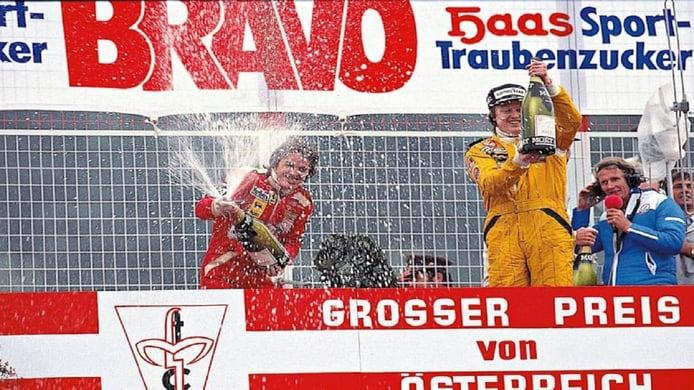 Villeneuve y Peterson en el podio del GP de Austria de 1978
