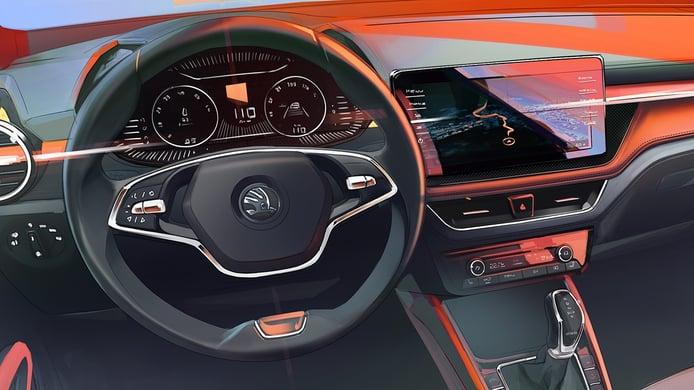 El renovado interior del nuevo Skoda Fabia 2021, un coche más conectado y digital