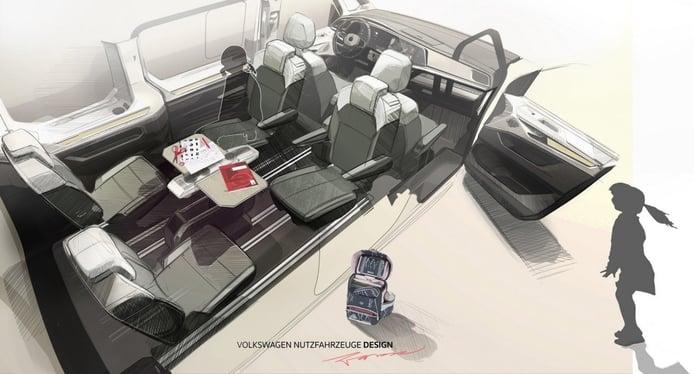 Nuevo boceto adelanta soluciones prácticas del nuevo Volkswagen Multivan 2022