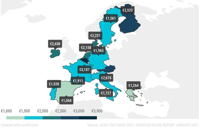 Un informe de ACEA muestra los países de Europa donde los coches son más caros