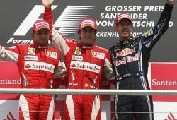 Alonso gana en Alemania. Fantástico doblete de Ferrari desvirtuado por las órdenes de equipo.