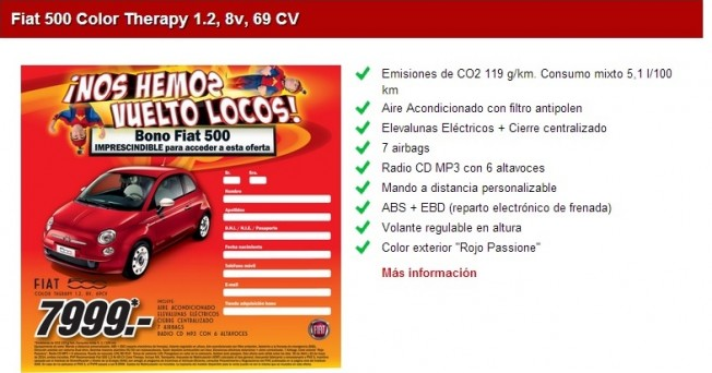 Fiat 500 promoci n de media markt por euros for Media markt fotos precios