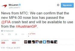 El morro corto de McLaren aprueba el test de impacto y debutará en el GP de Austria