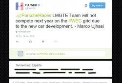 El WEC patina en twitter con el futuro de Porsche en GTE
