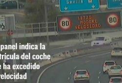 La DGT instala un panel en Sevilla que muestra las matrículas de los infractores