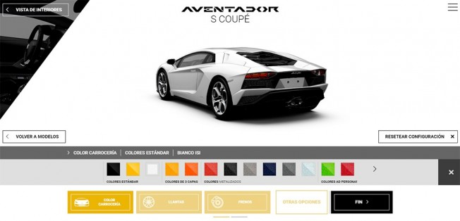 Lamborghini Aventador S - configurador