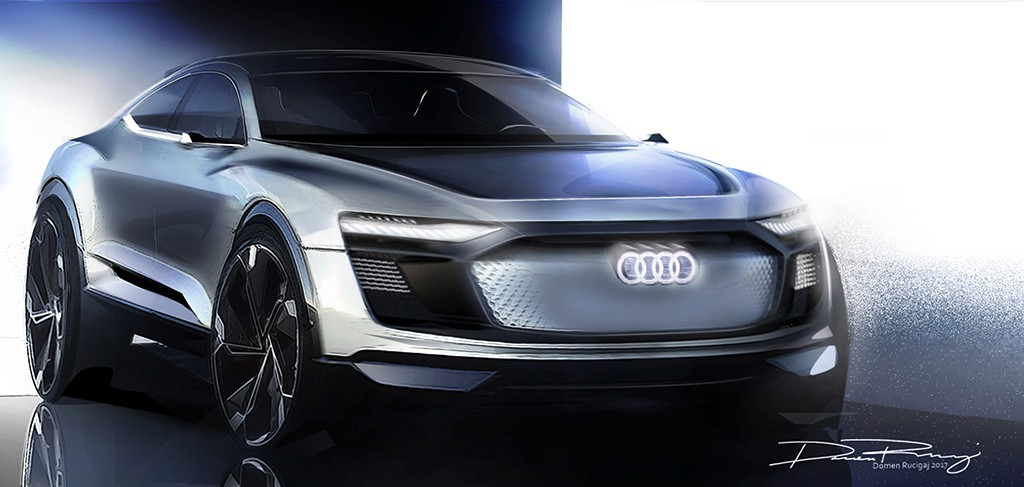 Anticipando el futurista Audi e-tron Sportback Concept mediante unos bocetos