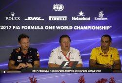 El trío que originó el gran acuerdo: McLaren, Renault y Red Bull ante la prensa