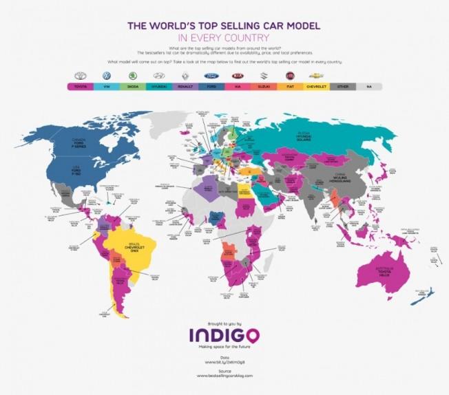 Todos los coches ms vendidos del mundo por paises en un solo mapa