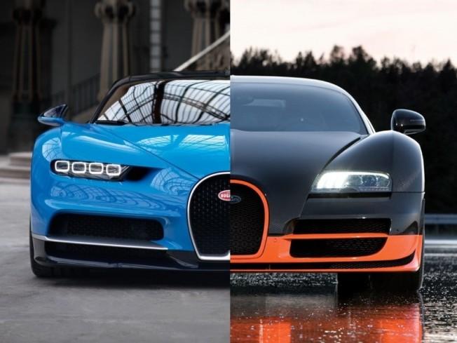 Bugatti Chiron vs Bugatti Veyron SS: duelo en el cuarto de