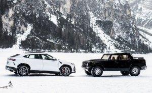 Así se ve el nuevo Lamborghini Urus junto al clásico Lamborghini LM 002