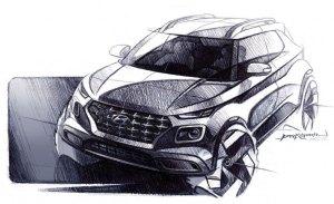 Primeros bocetos del nuevo Hyundai Venue antes de su presentación