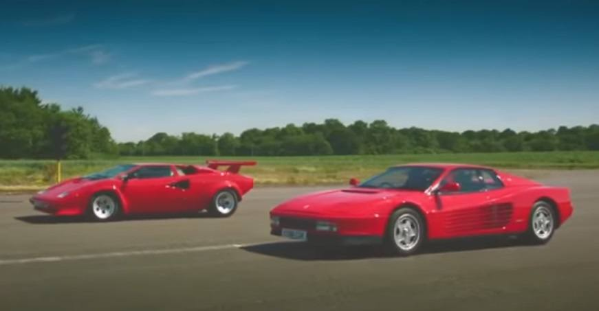 Drag race retro: Lamborghini Countach vs. Ferrari Testarossa