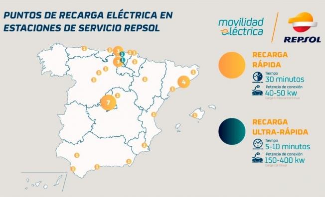 Puntos de carga de coches eléctricos en estaciones de servicio Repsol