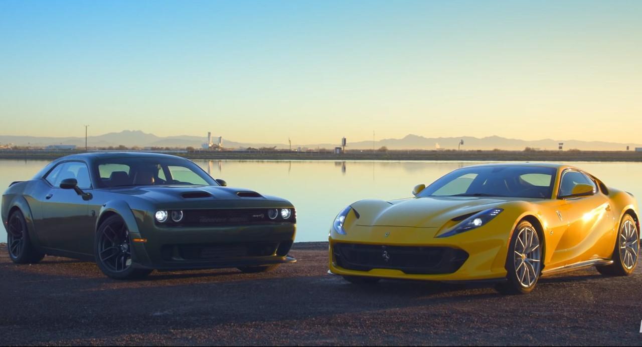 Duelo extremo: Dodge Challenger Hellcat Redeye vs. Ferrari 812 Superfast [vídeo]