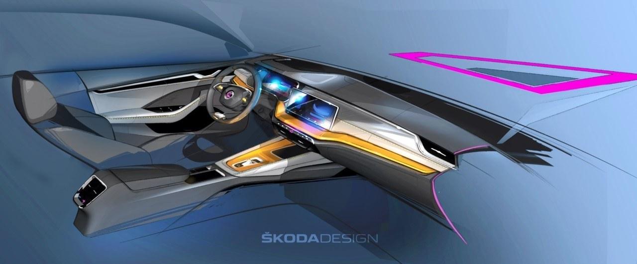 Skoda desvela dos teasers del avanzado interior del nuevo Octavia