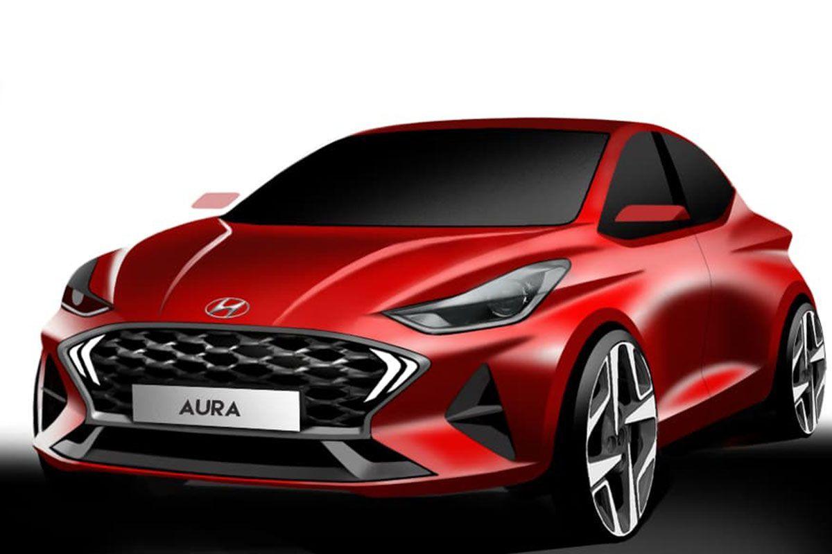Dos bocetos anticipan el diseño más deportivo del nuevo Hyundai Aura para India
