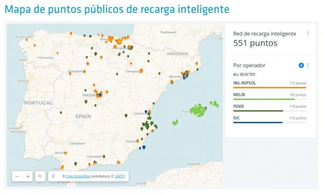 mapa de puntos públicos de recarga inteligente red eléctrica española