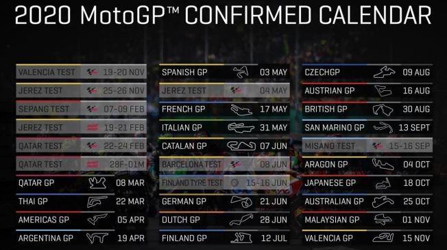 Dorna confirma el calendario de la temporada 2020 de MotoGP