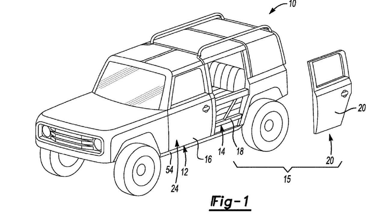 Nuevas patentes de las puertas desmontables del futuro Ford Bronco