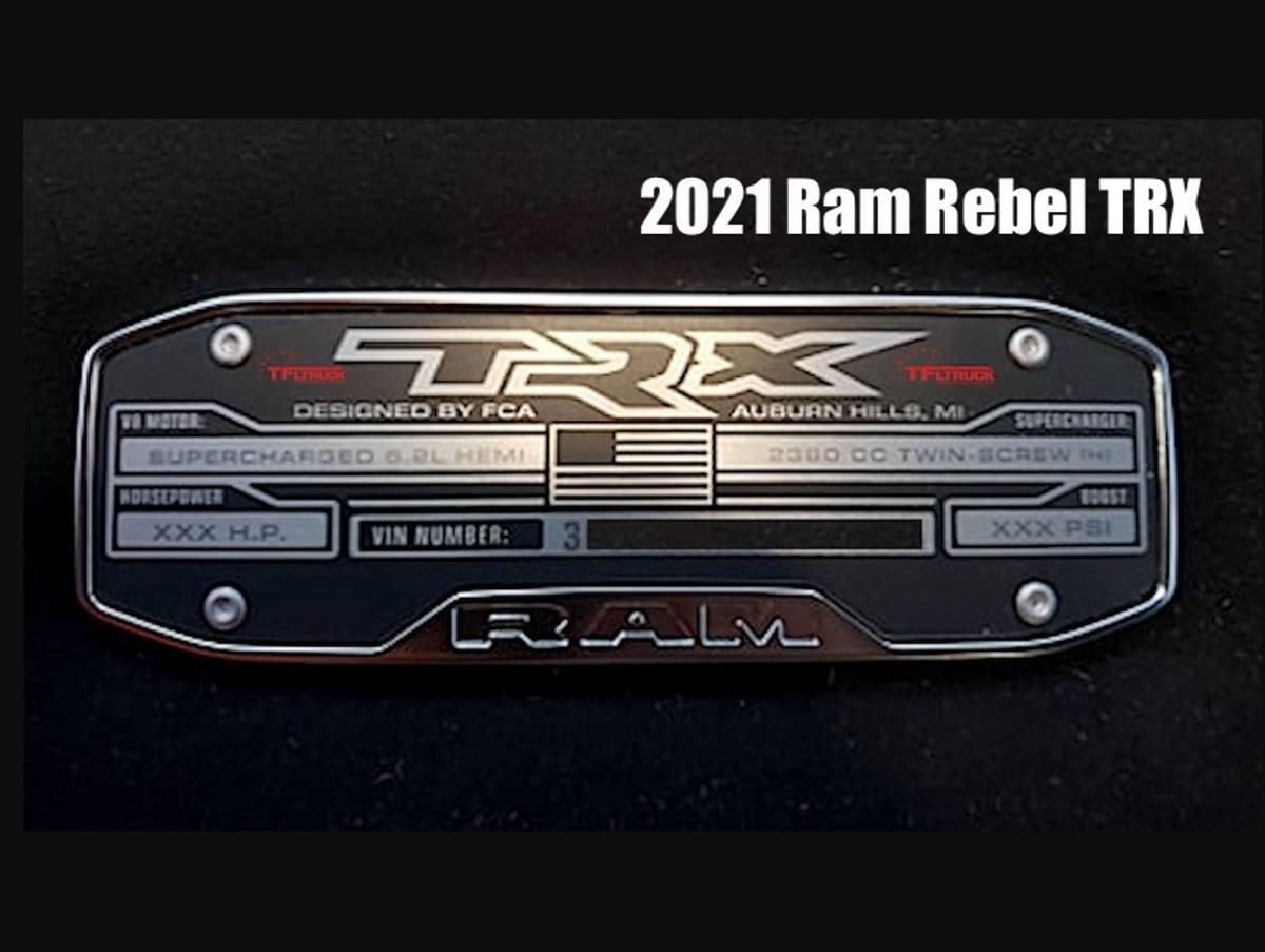 Filtrado: una placa del RAM Rebel TRX confirma el V8 Hellcat