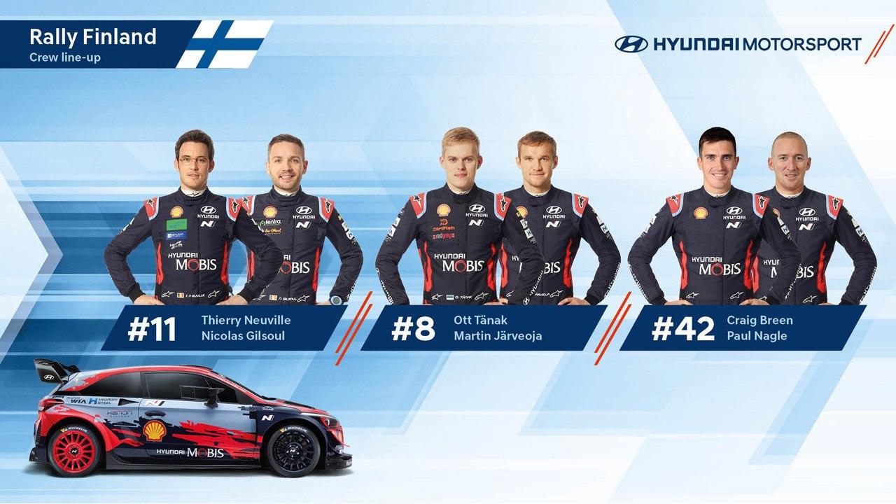 Hyundai hace pública su alineación para el Rally de Finlandia 2020