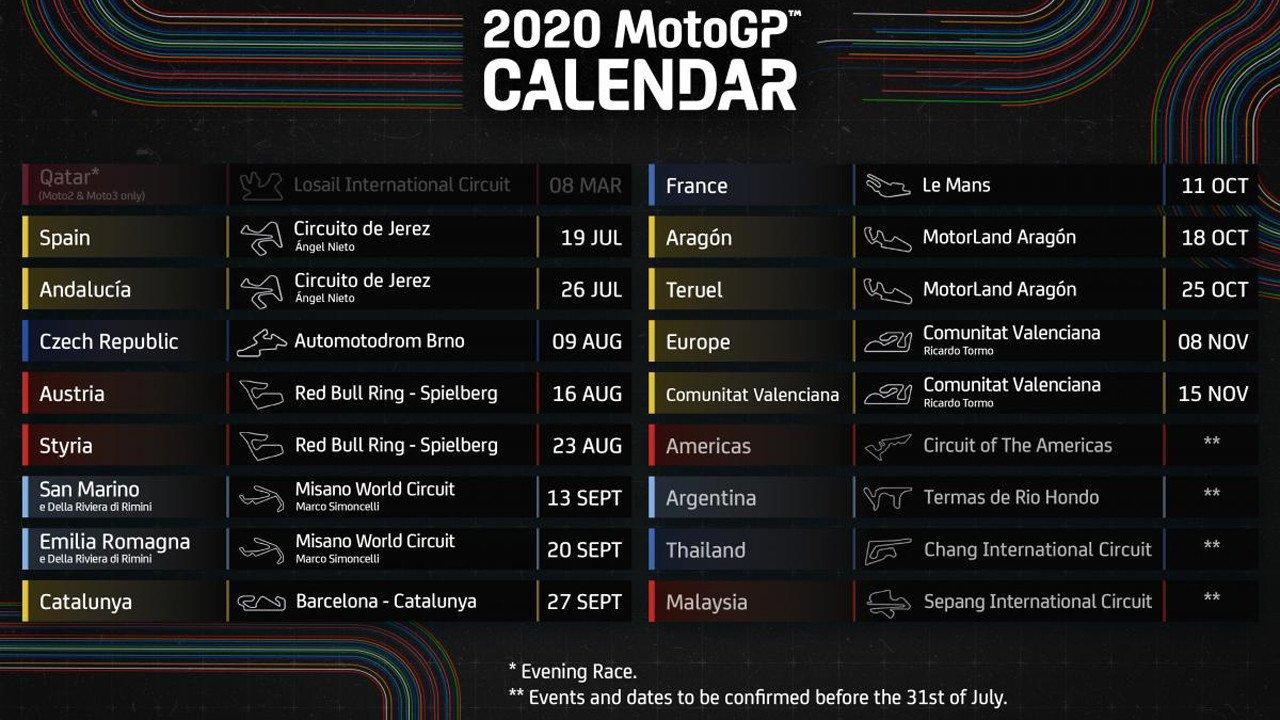 MotoGP presenta el nuevo calendario de 2020 con cinco 'dobletes'