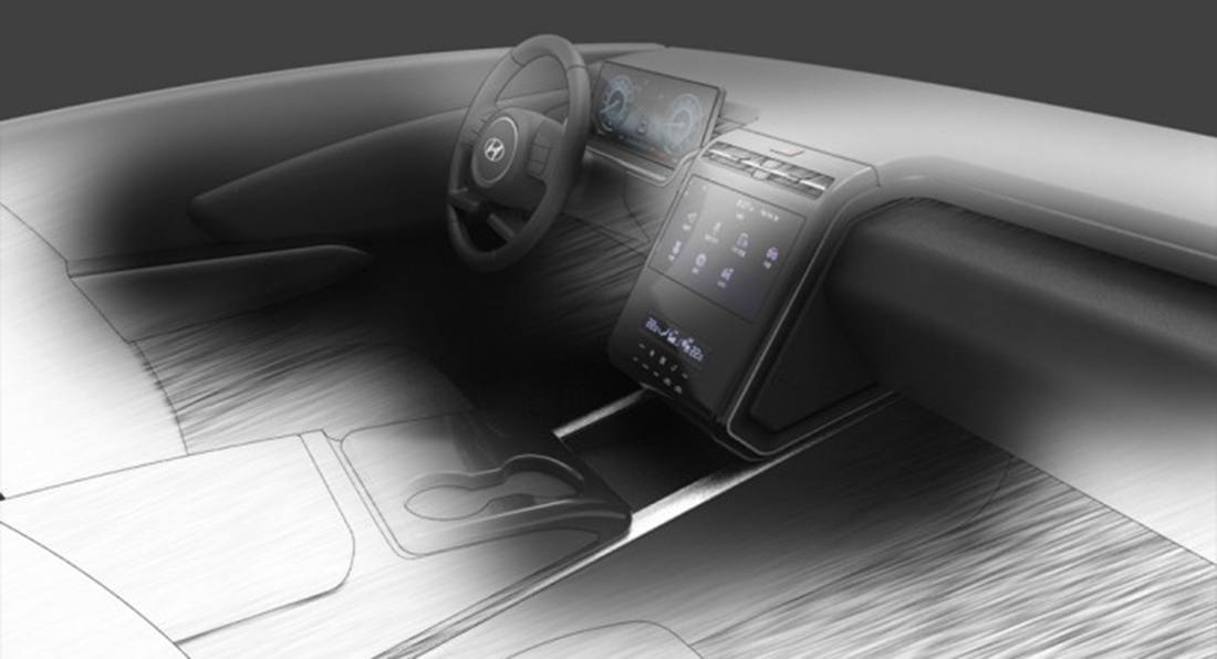 El tecnológico salpicadero del Hyundai Tucson 2021 al descubierto por un boceto filtrado