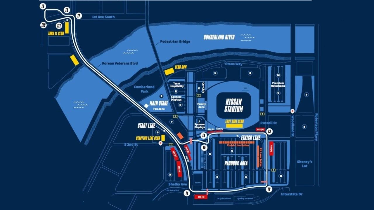 Nashville presenta un circuito urbano... ¡que cruza un puente en ambos sentidos!