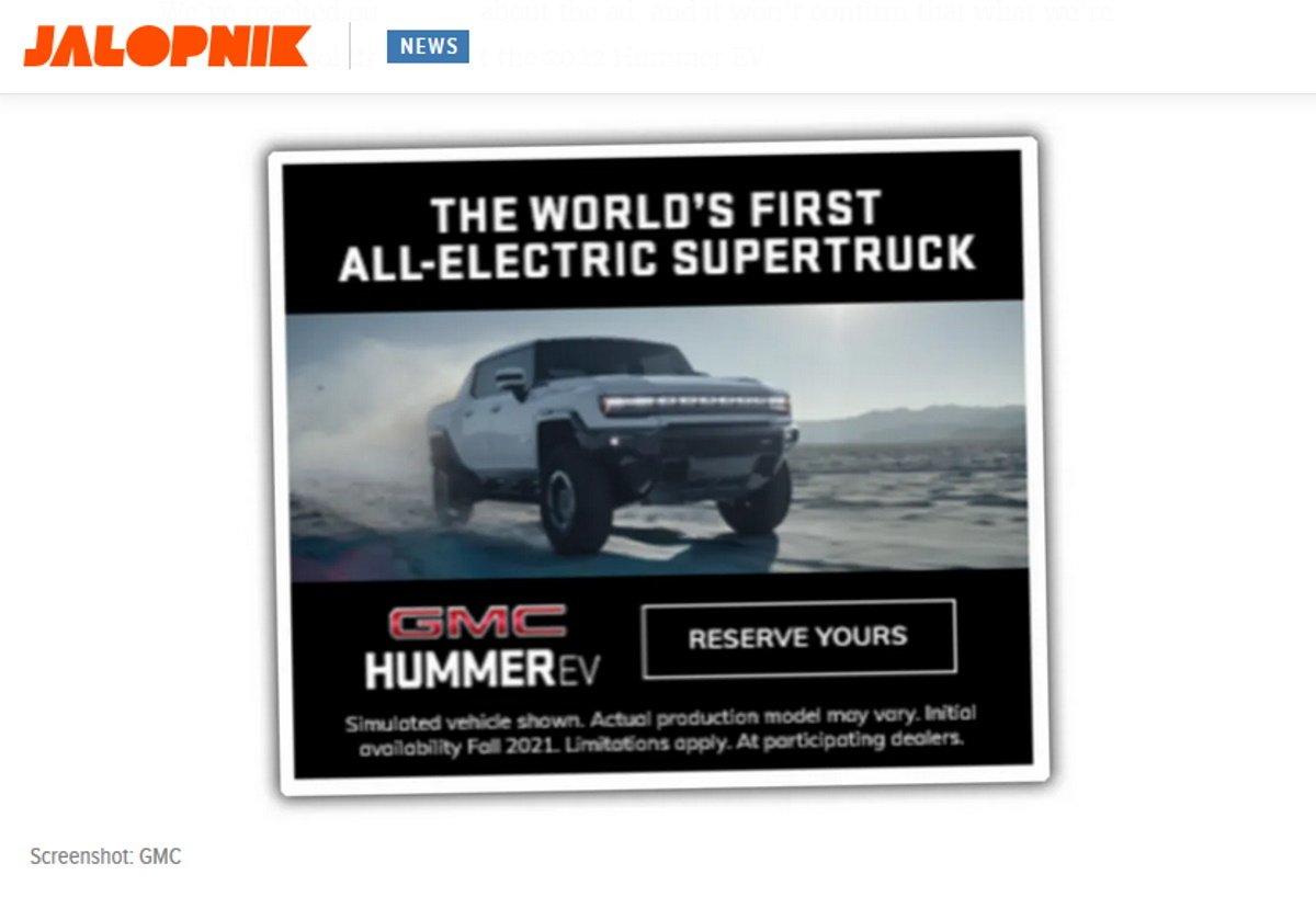 General Motors filtra por error la primera imagen del nuevo GMC Hummer EV pick-up