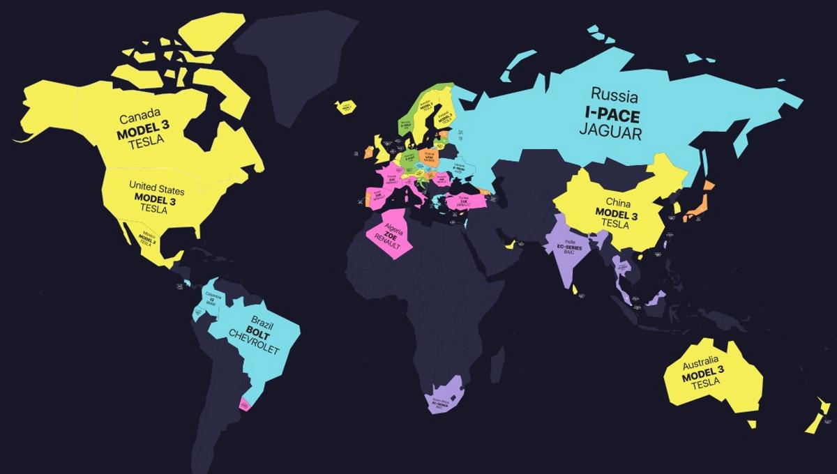 Los modelos eléctricos más vendidos en cada país del mundo reunidos en un solo mapa