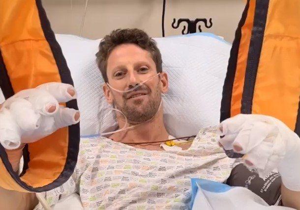 Primer mensaje de Grosjean desde el hospital: «Estoy bien, sin el Halo no estaría aquí»