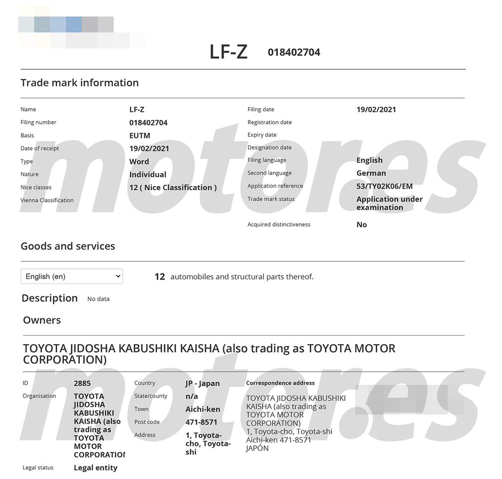 Filtración registro de patentes Lexus LF-Z