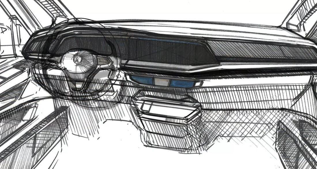 Boceto oficial del interior del nuevo Volkswagen Multivan 2022