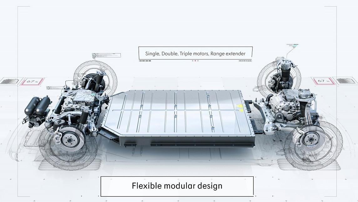 Detalle plataforma de coches eléctricos SEA de Geely